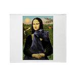 Mona Lisa /giant black Schnau Throw Blanket