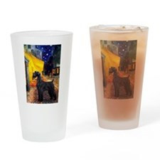 Cafe & Giant Schnauzer Drinking Glass