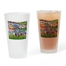Lilies / Scot Deerhound Drinking Glass