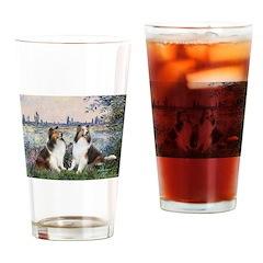Seine / 2 Shelties (dl) Drinking Glass