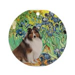 Irises / Sheltie Ornament (Round)