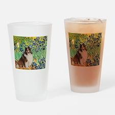 Irises / Sheltie Drinking Glass