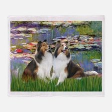 Lilies #2 / Two Shelties Throw Blanket