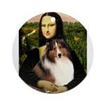 Mona Lisa / Sheltie (s&w) Ornament (Round)