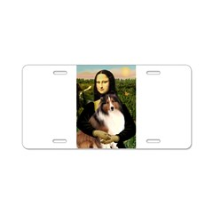 Mona Lisa / Sheltie (s&w) Aluminum License Plate