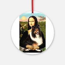 Mona Lisa / Sheltie (s&w) Ornament (Round)