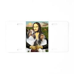 Mona Lisa / 2 Shelties (DL) Aluminum License Plate