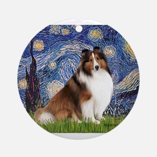Starry Night / Sheltie (s&w) Ornament (Round)