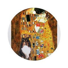 Kiss/Tri Color Sheltie Ornament (Round)