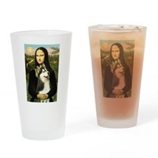 Mona Lisa & Siberian Husky Drinking Glass