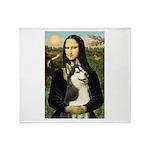 Mona Lisa & Siberian Husky Throw Blanket
