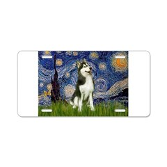 Starry Night & Husky Aluminum License Plate