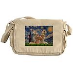 Starry Night Red Husky Pair Messenger Bag
