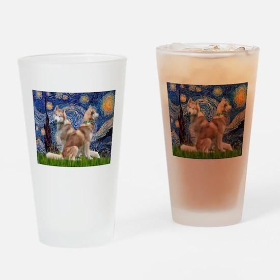 Starry Night Red Husky Pair Drinking Glass