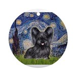 Starry / Black Skye Terrier Ornament (Round)