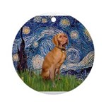 Starry Night / Vizsla Ornament (Round)