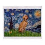 Starry Night / Vizsla Throw Blanket
