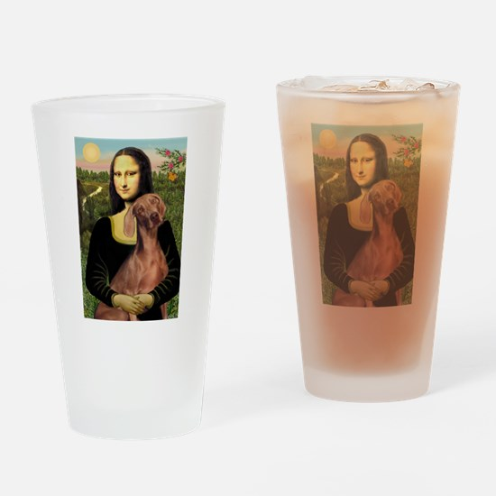 Mona Lisa / Weimaraner Drinking Glass
