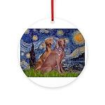 Starry / 2 Weimaraners Ornament (Round)