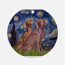 Starry / 2 Weimaraners Ornament (Round)