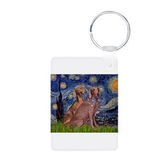 Starry / 2 Weimaraners Keychains