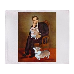 Lincoln's 2 Corgis (Pem) Throw Blanket
