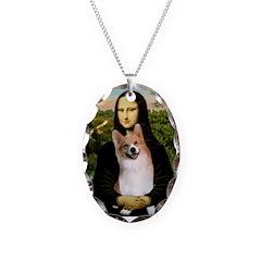 Mona Lisa / Welsh Corgi(p) Necklace Oval Charm