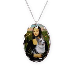Mona's Corgi (Bl.M) Necklace Oval Charm