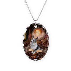 The Queen's Corgi (Bl.M) Necklace Oval Charm