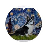 Starry Night / Welsh Corgi(bi Ornament (Round)