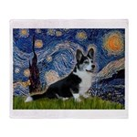 Starry Night / Welsh Corgi(bi Throw Blanket