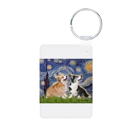 Starry Night / Corgi pair Aluminum Photo Keychain
