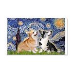 Starry Night / Corgi pair 20x12 Wall Decal