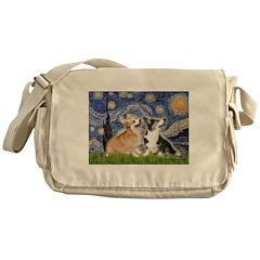 Starry Night / Corgi pair Messenger Bag