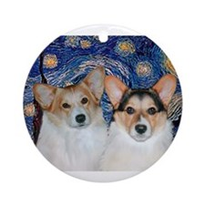 Starry Night / Corgi pair Ornament (Round)