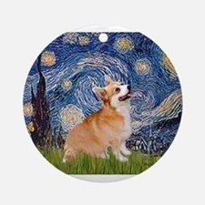Starry Night Corgi Ornament (Round)