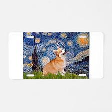 Starry Night Corgi Aluminum License Plate