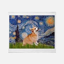 Starry Night Corgi Throw Blanket