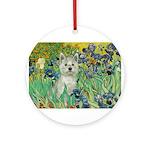 Irises / Westie Ornament (Round)