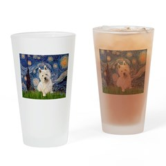 Starry Night/Westie Drinking Glass