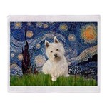Starry Night/Westie Throw Blanket