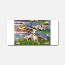 Lilies & Whippet Aluminum License Plate