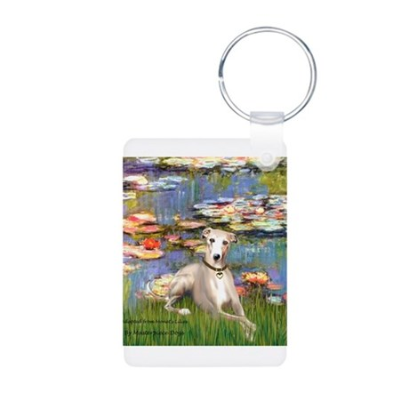 Lilies & Whippet Aluminum Photo Keychain