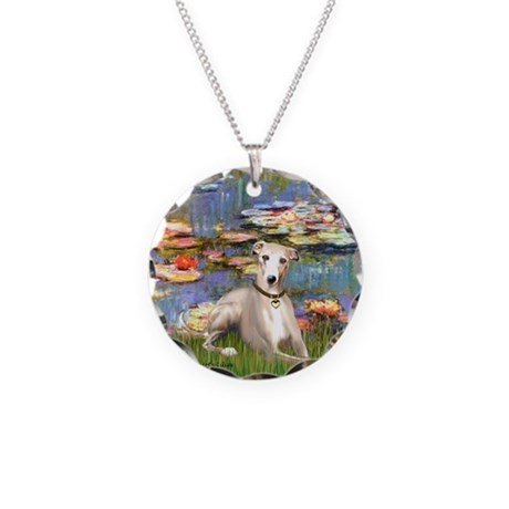 Lilies & Whippet Necklace Circle Charm