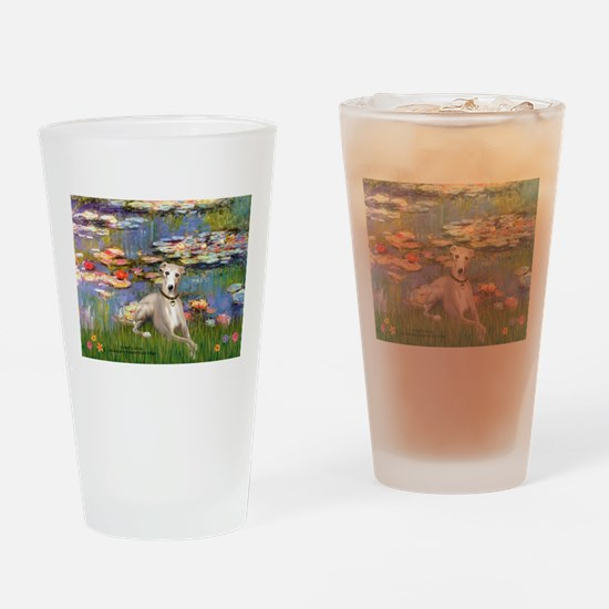 Lilies & Whippet Drinking Glass
