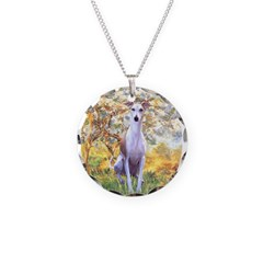 Spring / Whippet Necklace Circle Charm