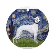 Starry Night / Whippet Ornament (Round)