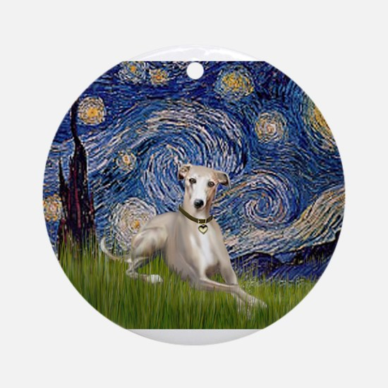 Starry Night Whippet Ornament (Round)