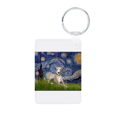 Starry Night Whippet Aluminum Photo Keychain
