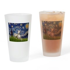 Starry Night Whippet Drinking Glass
